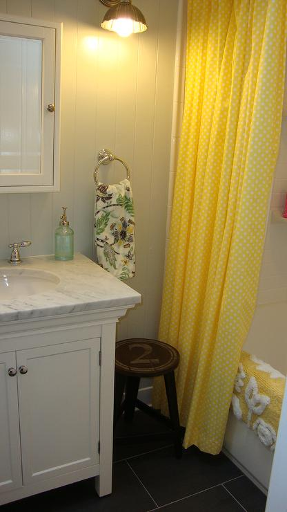 Steward of Design - bathrooms - Benjamin Moore - Gray Owl - bathroom cabinet, shower curtain, stool, medicine cabinet, shower curtain, yellow shower curtain,