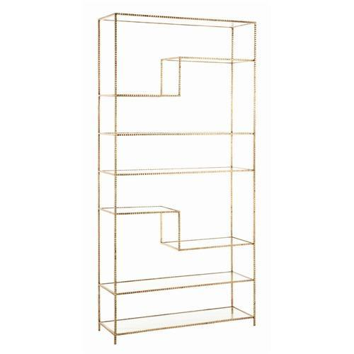 Storage Furniture - Arteriors Worchester Gold Leaf Iron And Glass Bookshelf - Arteriors-6817 | Candelabra, Inc. - arteriors, gold leaf, iron, glass, bookshelf