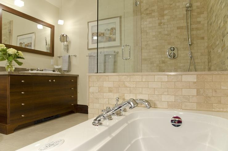 Lejla Eden Interiors - bathrooms - Benjamin Moore - Niveous - master bath, travertine, walnut vanity, travertine tile, travertine tile bathroom, travertine subway tile, travertine shower, travertine shower surround, travertine tile shower, travertine tile shower surround,