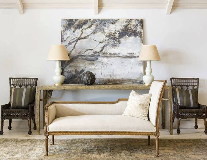 French Settee Transitional Living Room Phoebe Howard