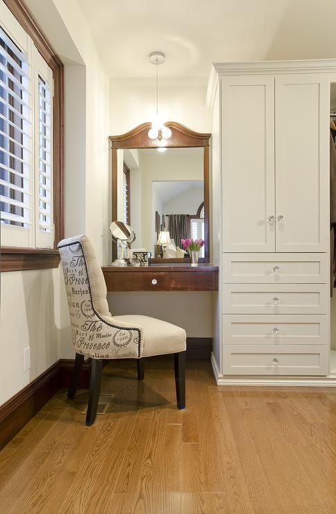 Lejla Eden Interiors - closets - Benjamin Moore - Old Prairie - makeup vanity, closet, built ins,  Dressing Room