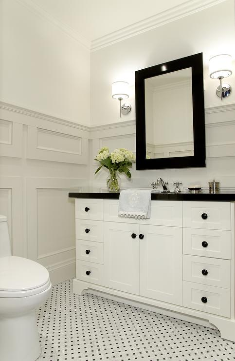 Lejla Eden Interiors - bathrooms - Benjamin Moore - Grey Mist - Benjamin Moore White Dove, Powder room, bathroom, moulding, marble floor tile, wall moldings, bathroom moldings, bathroom wall moldings, wall moldings,
