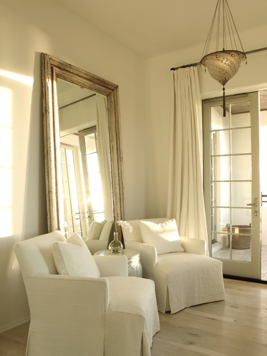 Beveled Floor Mirror Transitional Bedroom The Iron Gate