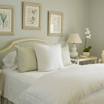 Phoebe Howard - bathrooms - French, bed, blue, headboard, pale, gray, walls, ivory, scallop, nightstands, baby blue, double gourd, lamps, botanical, prints, gold leaf, frames, scallop nightstands, scalloped nightstands, cream nightstands, scream scalloped nightstands, nightstand with scallop trim, cream nightstand with scallop trim,