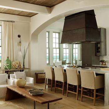 Slipcovered Bar Stools, Contemporary, kitchen, The Iron Gate