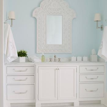 Phoebe Howard - bathrooms - sky, blue, walls, white, mirror, extra-wide, single bathroom vanity, marble, top, monogrammed, towels, white mirror, taj mahal mirror, white taj mahal mirror,