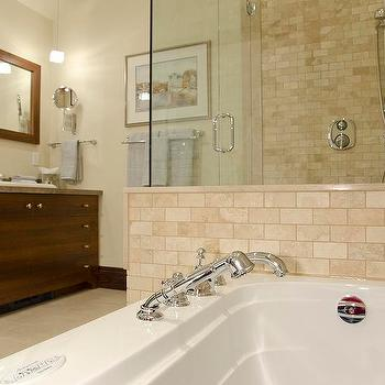 Travertine Tile Bathroom, Traditional, bathroom, Benjamin Moore Niveous, Lejla Eden Interiors