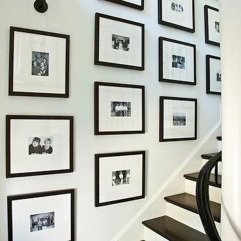 Phoebe Howard - entrances/foyers - black, white, photos, black, gallery, frames, staircase, art gallery, glossy, black, staircase railing, photo walls, photo wall collage, photo wall ideas, family photo walls, , Thomas O'Brien Vendome Single Sconce,
