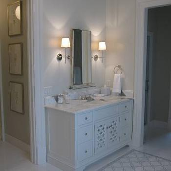 Phoebe Howard - bathrooms - cool, gray, walls, white, single bathroom vanity, marble, top, marble, tiles, floor, marble, mosaic, inset tiles, light gray bathroom, light gray bathroom design, Thomas O'Brien Bryant Single Sconce,