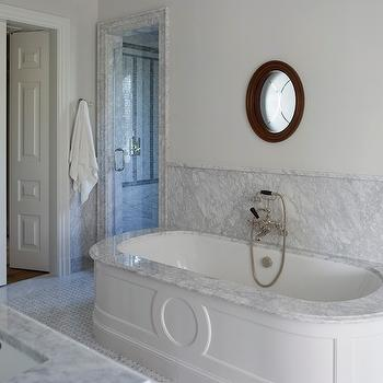 Phoebe Howard - bathrooms - bi-fold, doors, marble, door, moldings, marble, backsplash, oval, tub, marble, basketweave, tiles, floor, oval tub, oval bathtub, paneled oval tub, marble oval tub,
