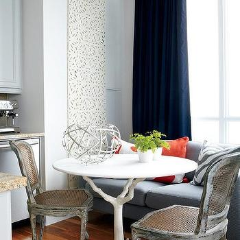 Samantha Pynn - dining rooms - gray washed, cane, chairs, blue, linen, modern, sofa, blue, silk, drapes, faux bois table, faux bois dining table, white faux bois table, white faux bois dining table, white dining table, white branch dining table, branch dining table,