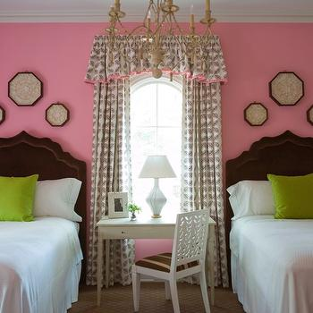Phoebe Howard - girl's rooms - pink, walls, twin, chocolate brown, velvet, headboards, Granny Smith Apple, green, velvet, pillows, white, gray, valance, drapes, pink, trim, pink and brown girls room, pink and brown  girls bedroom, pink brown and green girls room, pink brown and green girls bedroom,
