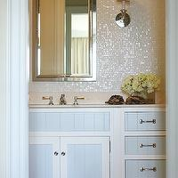 Phoebe Howard - bathrooms - white, blue, single bathroom vanity, marble, top, pearl, glass tiles, backsplash, inset, medicine cabinet, two tone cabinets, two tone kitchen cabinets, 2 tone cabinets, 2 tone kitchen cabinets, white and blue cabinets, white and blue bathroom cabinets,