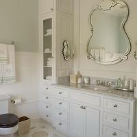 Phoebe Howard - bathrooms - ornate, mirror, white, built-in, single bathroom vanity, marble, top, white, glass-front, bathroom cabinets, sage, green, walls, ornate, mirror,