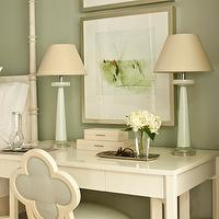 Phoebe Howard - bedrooms - sage, green, walls, mint, green, lamps, ivory, glossy, lacquer, desk, ivory, Suzanne Kasler, quatrefoil, chair, sage, green, linen, ivory, lacquer, boxes, quatrefoil chair, blue quatrefoil chair,