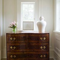 Phoebe Howard - entrances/foyers - antique, cabinet, white, crackled, ginger jar, pink, tulips, foyer chest, antique foyer chest,  Sophisticated