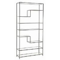 Storage Furniture - Arteriors Worchester Natural Iron And Glass Bookshelf - Arteriors-6818 | Candelabra, Inc. - arteriors, worchester, natural, iron, glass, bookshelf