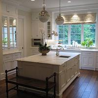 Phoebe Howard - kitchens - mirrored, cabinet, doors, floor to ceiling, raised panel, white, kitchen cabinets, sink in kitchen island, marble, countertops, all white kitchen, white kitchen, all white kitchen design, Thomas O'Brien Hicks Pendant,