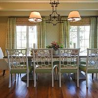 Phoebe Howard - dining rooms - built-in, white washed, buffet, hutch, ming green, dinnerware, green, geometric, pattern, drapes, layered, bamboo, roman shades, faux bamboo, chandelier, salvaged wood, dining table, white, dining chairs, green, cushions,