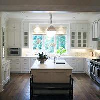 Phoebe Howard - kitchens - floor to ceiling, white, kitchen cabinets, white, kitchen island, sink in kitchen island, marble, countertops, backsplash, pot filler, barrel, range hood, forged iron straps, U shaped kitchen, U shaped kitchen design, Thomas O'Brien Hicks Pendant,