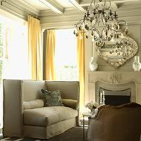 The Iron Gate - living rooms - glossy, gray, mouldings, gray, walls, yellow, drapes, high-back, linen, slipcover, settee, gray, Greek key, rug, French, accent chair, yellow curtains, yellow drapes, yellow window panels,