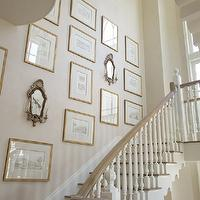 Phoebe Howard - entrances/foyers - staircase, art gallery, gold leaf, frames, antique, sconces,  Amazing staircase art gallery with ivory walls