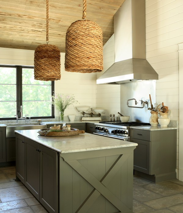The Iron Gate - kitchens - wood, sloped ceiling, groove, walls, pot filler, green, gray, kitchen cabinets, white, carrara, marble, countertops, stainless steel, apron, sink, woven, pendants, gray green kitchen island, x kitchen island,
