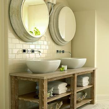 The Iron Gate - bathrooms - salvaged wood, double bathroom vanity, twin, glossy, white, vessel, sinks, polished nickel, modern, wall-mount, faucets, subway tiles, backsplash, gray washed, round, mirrors, flokati, rug, his and her sinks, vessel sink, side by side sinks,