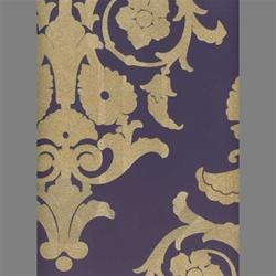 Tan & Purple Medallion Damask Velvet Flocked Wallcovering, Burke Decor