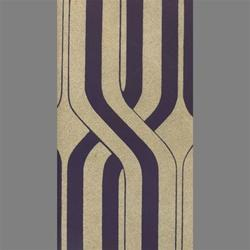 Tan and Purple Geometric Stripe Velvet Flocked Wallcovering, Burke Decor