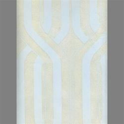 Wallpaper - White & Light Blue Geometric Stripe Velvet Flocked Wallcovering - Burke Decor - white, light blue, wallpaper