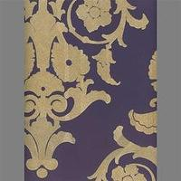 Wallpaper - Tan &amp; Purple Medallion Damask Velvet Flocked Wallcovering - Burke Decor - tan, purple, medallion, damask, wallpaper