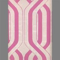 Wallpaper - White & Pink Geometric Stripe Velvet Flocked Wallcovering - Burke Decor - white, pink, geometric, stripe, wallpaper