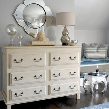 Mabley Handler - bedrooms - gray, blue, walls, mercury glass, double gourd, lamp, ivory, dresser, bronze, pulls, built-in, bench, blue, velvet, tufted, cushion, ivory dresser, ivory chest,