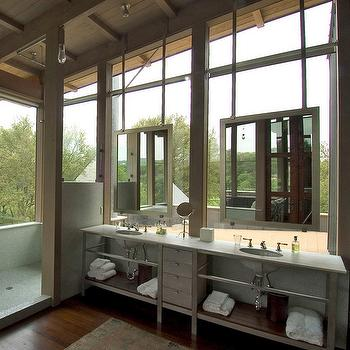 Mell Lawrence Architects - bathrooms - hanging, mirrors, metal, double bathroom vanity, marble, top, open, shower, industrial double washstand, industrial double vanity,