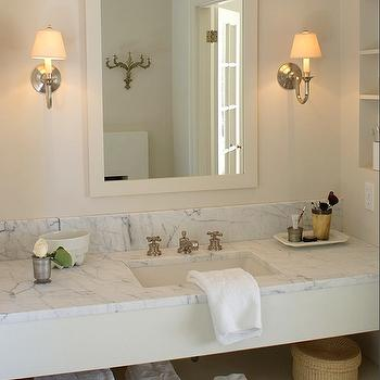 Cote de Texas - bathrooms - marble, top, bathroom vanity, ivory, mirror, brushed nickel, sconces, cream vanity, cream single vanity, cream washstand, cream bathroom vanity, cream vanity with white marble countertop, cream bathroom vanity with white marble countertop, cream vanity with white marble top,