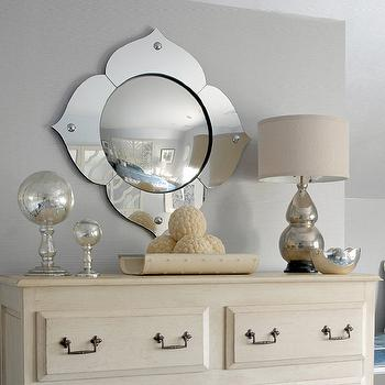 Mabley Handler - bedrooms - ivory, dresser, bronze, pulls, mercury glass, double gourd, lamp, mirror, double gourd lamp, mercury glass lamp, mercury glass double gourd lamp,