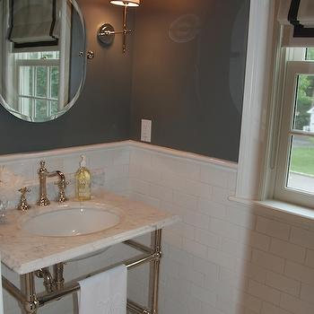 Glam bathroom with Soho Studio Corp MJ Aladdin Tile floor, white carrara marble ...