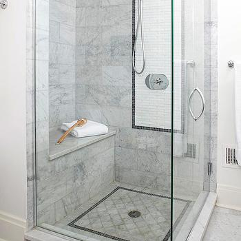 BHG - bathrooms - seamless glass shower, bench, marble, tiles, shower surround, white, marble, linear, inset tiles, marble shower bench,  Stunning