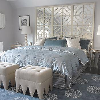 Mabley Handler - bedrooms - blue, gray, walls, ivory, mirrored, quatrefoil, pattern, floor screen, headboard, mirrored, tables, nightstands, champagne, metal, lamps, light gray, linen, tufted, ottomans, silver, garden stools, mirror headboard, mirrored headboard, mirrored bed, Madeline Weinrib Atelier Light Blue Mandala Rug,