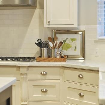 Honey We're Home - kitchens - gray, walls, shaker, kitchen cabinets, marble, countertops, cream cabinets, cream kitchen cabinets, cream shaker cabinets, cream shaker kitchen cabinets, Sherwin Williams Divine White,