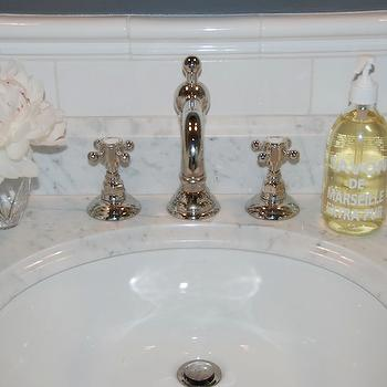 Pretty Pink Tulips - bathrooms - marble, top, bathroom vanity, subway tiles, backsplash, gray, walls, vintage, Rohl, Country Bath Widespread with Column Spout and Cross Handles, Polished Nickel, rohl faucet,