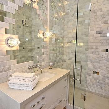White Carrara Marble Bathroom Tiles Design Decor