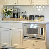 Honey We're Home - kitchens - white, shaker, kitchen cabinets, carrara, marble, countertops, subway tiles, backsplash, painted cabinets, painted kitchen cabinets, ivory painted cabinets, ivory painted kitchen cabinets, divine white,
