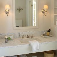 Cote de Texas - bathrooms - marble, top, bathroom vanity, ivory, mirror, brushed nickel, sconces,  Chic master bathroom with marble top bathroom