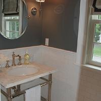 Glam bathroom with gray walls paint color, Soho Studio Corp MJ Aladdin Tiles floor, ...