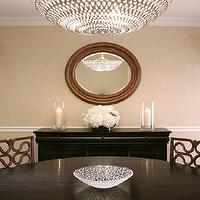 Mabley Handler - dining rooms - sand, grasscloth, wallpaper, black, buffet, glossy, black, round, dining table, Oly Studio Pipa Bowl Chandelier,