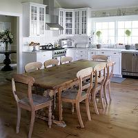 Mabley Handler - kitchens - beadboard, ceiling, beadboard, backsplash, white, glass-front, kitchen cabinets, marble, countertops, rustic, dining table, dining chairs, beadboard backsplash, beadboard kitchen, kitchen beadboard, white beadboard, white beadboard backsplash,