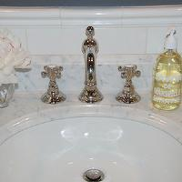 Pretty Pink Tulips - bathrooms - marble, top, bathroom vanity, subway tiles, backsplash, gray, walls, vintage, Rohl, Country Bath Widespread with Column Spout and Cross Handles, Polished Nickel,