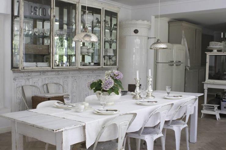 White Washed Dining Table Cottage Room Skonahem